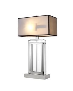 Arlington Crystal Rectangle Table Lamp with White Shade