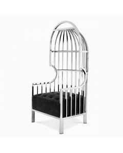 Bora Bora Stainless Steel & Black Velvet Chair