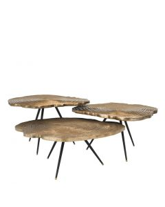 Quercus Brass Coffee Table - Set of 3
