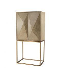 DeLaRenta Washed Oak & Brass Bar Cabinet
