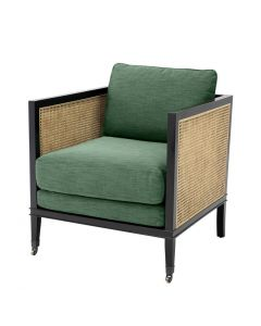 Lauriston Natural Cane Chair with Albin Green Cushions
