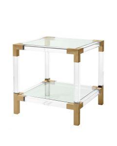Royalton Acrylic & Brass Side Table