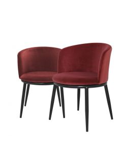 Filmore Cameron Wine Red Dining Chair - Set of 2