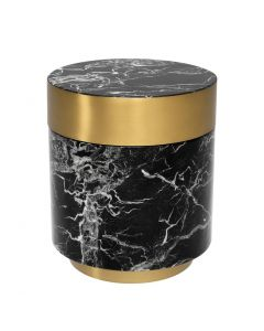 Caron Black Faux Marble Side Table