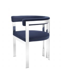 Clubhouse Savona Midnight Blue Velvet & Stainless Steel Dining Chair