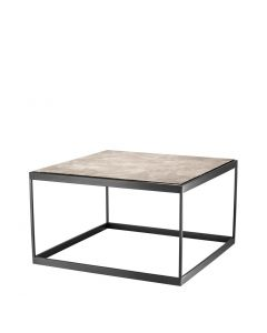 La Quinta Bronze Side Table with Beige Marble Top