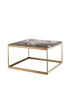 La Quinta Brushed Brass Side Table with Grey Marble Top