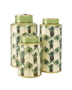 Pineapple Porcelain Jars - Set of 3