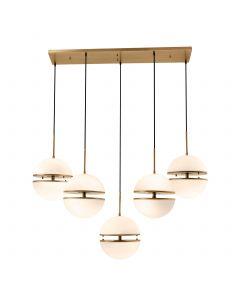 Spiridon Antique Brass 5 Light Linear Pendant
