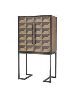 Gregorio Oak Veneer Wine Cabinet