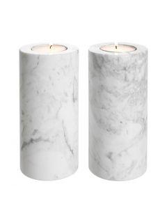 Tobor Large White Marble Tealight Holder - Set of 2