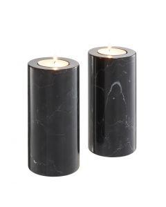 Tobor Large Black Marble Tealight Holder - Set of 2