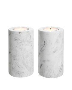 Tobor Medium White Marble Tealight Holder - Set of 2