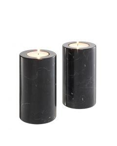 Tobor Medium Black Marble Tealight Holder - Set of 2