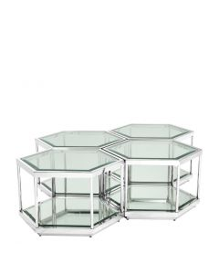 Sax Polished Stainless Steel Coffee Tables - Set of 4