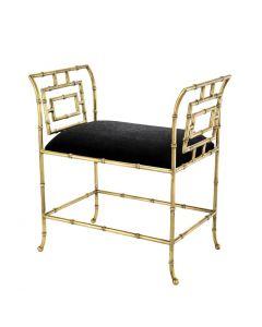 Bonita Brass & Black Velvet Bench