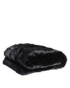 Alaska Black Faux Fur Throw