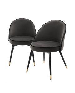 Cooper Set of 2 Roche Dark Grey Velvet Dining Chairs