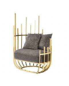 Santorini Gold & Savona Grey Velvet Chair - Left
