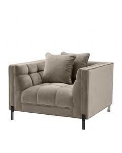 Sienna Savona Greige Velvet Armchair