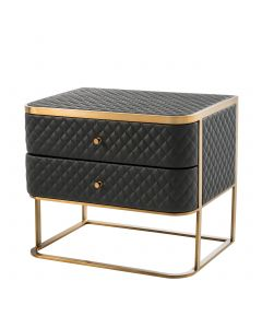Monfort Black Faux Leather Bedside Table