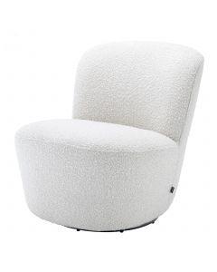 Doria Boucle Off-White Swivel Armchair