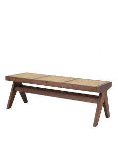 Arnaud Classic Brown Bench with Rattan Cane Seat
