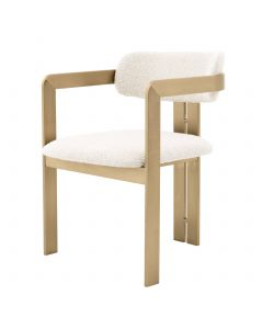 Donato Boucle Cream & Brushed Brass Dining Chair