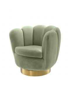 Mirage Savona Pistache Green Velvet Swivel Armchair