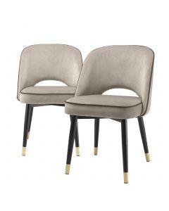 Cliff Savona Greige Velvet Dining Chair - Set of 2
