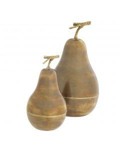 Pear Vintage Brass Box - Set of 2