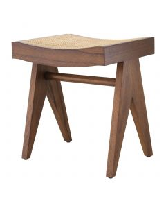 Arnaud Classic Brown Stool with Rattan Cane Seat