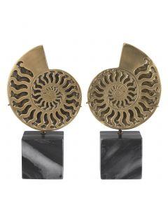 Ammonite Vintage Brass Object on Black Marble Base - Set of 2