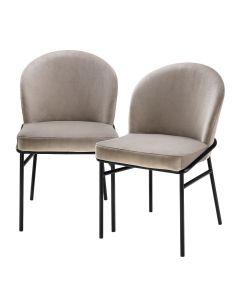Willis Savona Greige Velvet Dining Chair - Set of 2