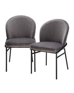 Willis Savona Grey Velvet Dining Chair - Set of 2
