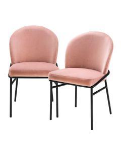 Willis Savona Nude Velvet Dining Chair - Set of 2