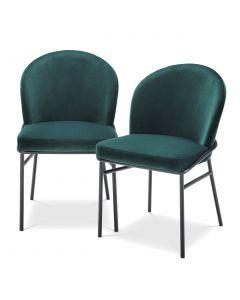 Willis Savona Dark Green Velvet Dining Chair - Set of 2