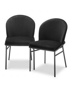 Willis Roche Black Velvet Dining Chair - Set of 2