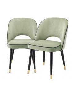 Cliff Savona Pistache Green Velvet Dining Chair - Set of 2