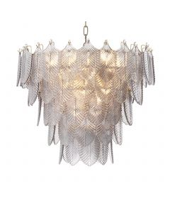Verbier Small Light Brushed Brass & Smoked Glass Chandelier