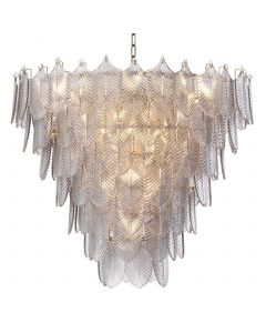 Verbier Large Light Brushed Brass & Smoked Glass Chandelier