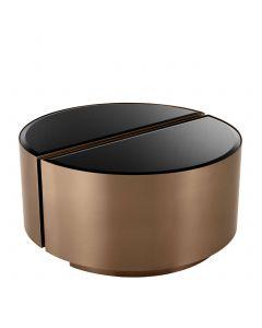 Astra Brushed Copper & Black Glass Side Table - Set of 2