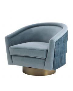 Le Vante Savona Blue Velvet Swivel Chair