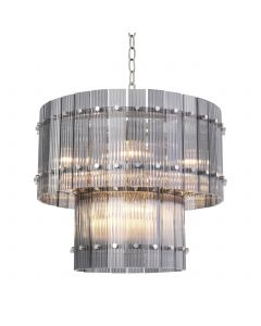 Ruby Small Nickel & Smoked Glass Chandelier