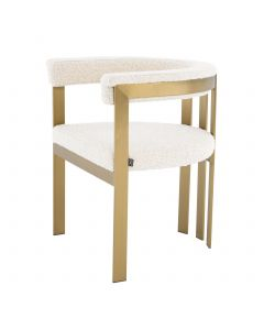 Clubhouse Boucle Cream & Brass Dining Chair