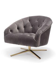 Gardner Savona Grey Velvet Swivel Chair