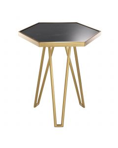 Samson Brushed Brass & Honed Black Marble Side Table