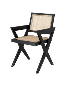 Augustin Black Dining Chair Chair with Rattan Cane Webbing