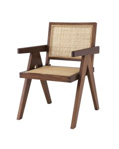 Aristide Classic Brown Dining Chair with Rattan Cane Webbing