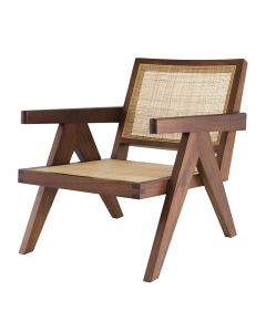 Aristide Classic Brown Chair with Rattan Cane Webbing